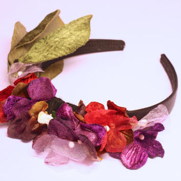 Vintage inspired velvet flower headband. Statement floral wedding headpiece. Bohemian flower hairband. Festival flower girl hair accessory.