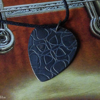 "Rustic custom guitar pick necklace -guitar gifts - large - ""Classy-Pick"" brand - gift for boyfriend, son, dad"