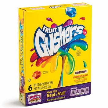 BETTY CROCKER FRUIT GUSHERS VARIETY FRUIT FLAVORS PACK 5.4 OZ