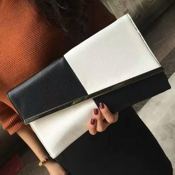 Fashion Leather Day Clutch Summer Women's Clutch Bags Chain Black and White Large Capacity Envelope Bag Women Party Evening Bag
