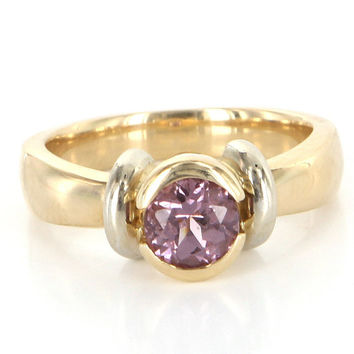 Vintage 14k Yellow Gold Pink Tourmaline Cocktail Right Hand Ring Estate Jewelry
