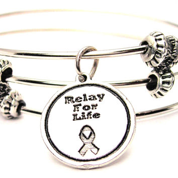 Relay For Life Triple Style Expandable Bangle Bracelet