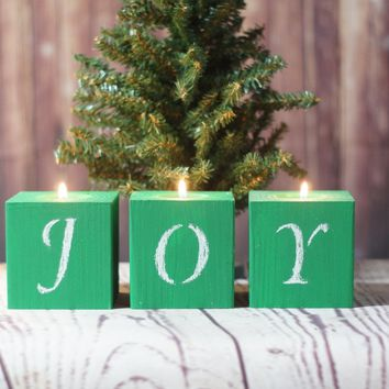 Joy Candles, Green Christmas Candles