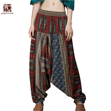 Jiqiuguer Original Design Elastic Waist Harem Pants Women Printing Long Indian Pants Cotton Linen Baggy Bloomers Pants G151K001