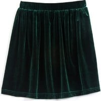 Vintage High Waist Soft Velvet Skater Pleated Full Mini Skirt (Green)