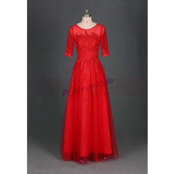 2014 long red tulle women dress in handmade,elegant half sleeves prom dresses hot,cheap unique applique lace gowns for wedding party.