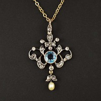 Fine Rose Cut Diamond and Aquamarine Pendant C 1900
