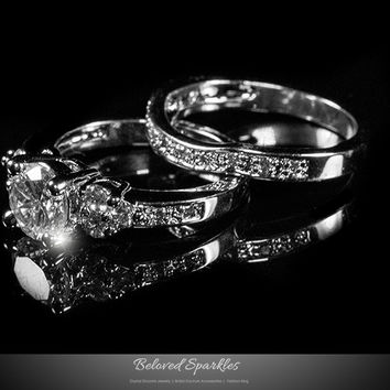 Bella Triple Stone Engagement and Wedding Ring Set | 4 Carat | Cubic Zirconia