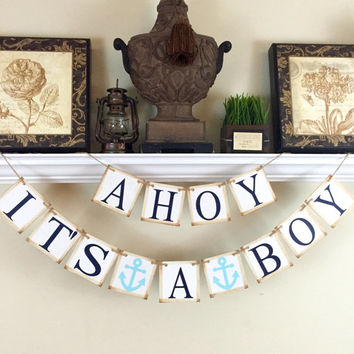 Ahoy Its A Boy Banner, Nautical Baby Banner, Nautical Nursery Decoration, Baby Boy Blue Anchor and Navy Blue