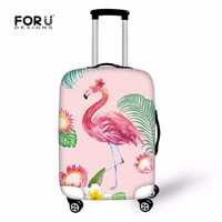 FORUDESIGNS 3D Flamingo Suitcase Cover Protective Luggage Case Cover For 18-30 Inch Trolley Suitcases Elastic Travel Accessories