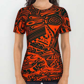 Inky - Orange & Green All Over Print Shirt by DuckyB