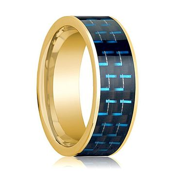 Mens Wedding Band 14K Yellow Gold with Black & Blue Carbon Fiber Inlay Flat Polished Design