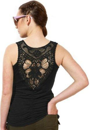Amazon.com: Rayon Jersey Tank Top With Butterfly Lace Crochet Back Junior Plus Size: Clothing