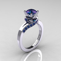 Classic 14K White Gold 1.0 Ct Chrysoberyl Alexandrite Designer Solitaire Ring R259-14KWGAL