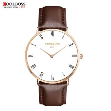 Mens Watches coolboss Brand Casual Military Quartz Sports Wristwatch Classic Leather Strap Male Clock watch men reloj hombre
