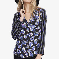 MIXED PRINT CONVERTIBLE SLEEVE PORTOFINO SHIRT from EXPRESS