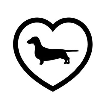 Funny Love Heart WIENER Car to Race Dog Dachshund Truck Bumper Vinyl Decal (Color: Black)