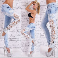 NEW WOMEN'S MIDDLE WAIST JEANS BREASTED SKINNY JEANS