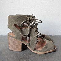 lace-up cutout heeled sandal - khaki