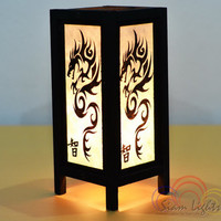 Black Dragon Wood Lantern Bedside Lamps Bedroom Lamps Home Lighting Decorate Vintage Lantern Interior Lighting