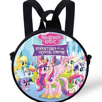 9-Inch Kids Cartoon Bags My Little Pony Round Backpack For Girls For School Children Kindergarten Bags For Girls Students Gifts
