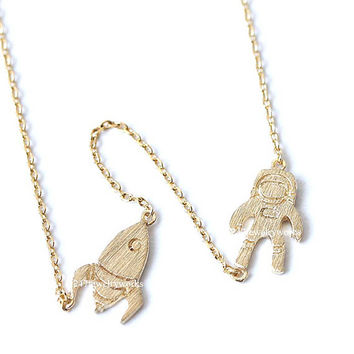 astronaut and rocket, astronaut necklace, rocket necklace, unique necklace, man necklace, astronaut, rocket, spaceship necklace, spaceship