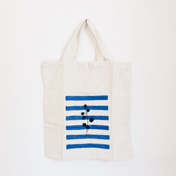 Cotton Tote Hand Painted Shopping Bag, Nautical Striped Tote