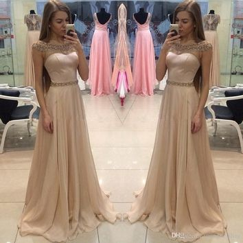 Cap Sleeve Apricot Women Occasion Evening Prom Dress 2019 A Line Scoop Neckline Sequins Long Party Gowns 1984
