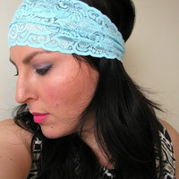 Wide Stretchy Lace Boho Headband, aqua stretch lace fashion headband, hippie headwrap, Cute Women's Headband