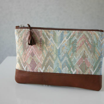 Pastel Ikat Chevron Spring Clutch Purse Leather