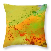 "Sunny Side Up - abstract - art Throw Pillow 14"" x 14"""