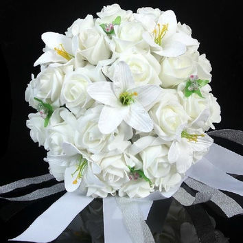 New Arrival Silk Artificial Bride Hands Holding Rose & Lily Flowers Wedding Bridal Bouquet = 1929840964