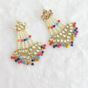 Wedding Gold Kundan Multicolor Beads Jhoomer Earrings /Indian Jadau Earrings/Golden Bollywood Earrings/ Punjabi Mughal Muslim Style Earrings