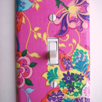 Tahitian Floral Single Toggle Switchplate In Pink Switch Plate