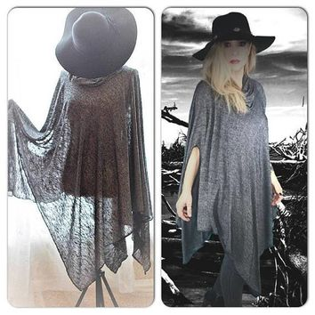 Gray poncho tunic, Bohemian gypsy poncho tunic, True rebel clothing, Coachella looks