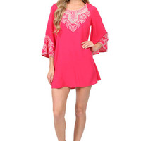 Belle Sleeve Embroidered Dress in Fuchsia: Buy Monoreno Clothing at MFredric.com
