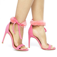 COOKIE FUR COLLAR HEELS - PINK