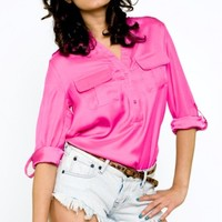 Candy Pink Blouse- Blouses for Spring- Blouses- $38