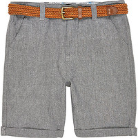 River Island Boys grey belted Oxford shorts