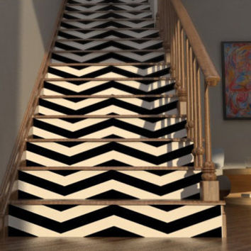 Chevron Your Stairs - Removable wallpaper - Vinyl wall sticker decal - THICK CHEVRONS