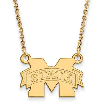 NCAA 14k Yellow Gold Mississippi State Sm 'M' State Pendant Necklace