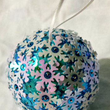 Snowflake handmade Christmas ornament, vintage sequin ornament