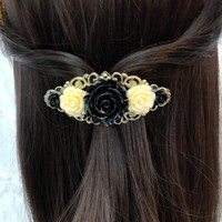 Vintage Style Rose Barrette Black & Ivory Antique Brass Filigree French Barrette Bridal Bridesmaid Hair Accessories