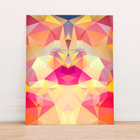 Abstract Geometric Polygon Lips  Digital Art Print Instant Download, Motivational Art Print, Colorful Poster, Geometric Art Fall