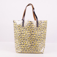 Multi-Color Floral Print and Striped Tote Bag
