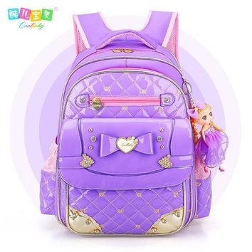 Day-First™ New Coolbaby Sweet Lovely 1-6 Grade Schoolbag Waterproof PU Backpacks Cartoon Princess Bookbag Fashion Girls School B