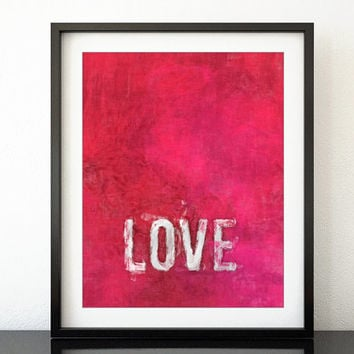 Love wall art, love quote print, printable art wall decor, quote printable, red love printable poster distressed paint style, pdf -op004