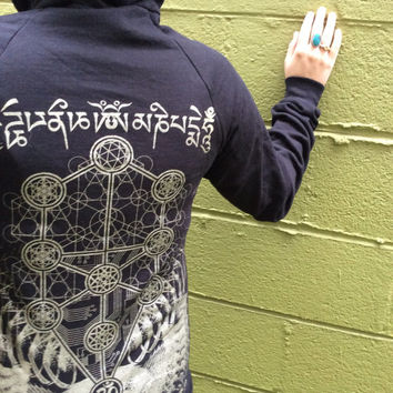 Womens Hoodie » Metatrons Cube & Tree of Life » Sacred Geometry Clothing » Sweatshop Free