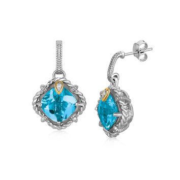 Blue Topaz & Diamond Talon Set Cable Earrings in Silver + Gold