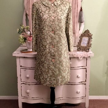Green Rose Brocade Coat, 50s 60s Coat, Dress Coat, S/SM, Hollywood Glam, Elegant Coat, Minimalist Coat, Beautiful Vintage Coat, Floral Coat